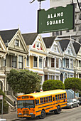 School bus in Alamo Square in Pacific Heights, San Francisco, California, USA