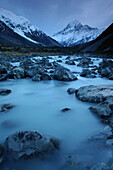 View of River Hooker with Mount Cook in the background, Mount Cook National Park, South Island, New Zealand