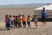 Children at a desert school, General, desert, Mongolia