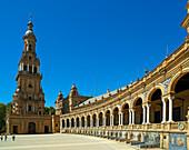 View of the Plaza de Espana public square, Seville, Andalucia, Spain