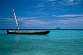 Seascape with boat, San Blas Islands, Panama