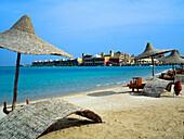 Beach scene at El Palacio Sun Rise Resort, Hurghada, Egypt