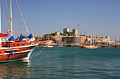 Castle of St Peter and Inner Harbour, Bodrum, Aegean, Turkey