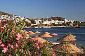 View of town over beach with sunshades and flowers, Bodrum, Aegean, Turkey
