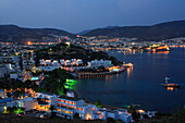 View over town and bay at night, Bodrum, Aegean, Turkey