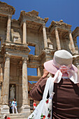 Tourist at the Library of Celsus, Ephesus, Aegean, Turkey