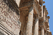 Library of Celsus with detail of inscription, Ephesus, Aegean, Turkey