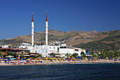 Mosque and beach, Turgutreis, Aegean, Turkey