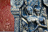 Carved and painted panels at Wat Phnom, Phnom Penh, Cambodia