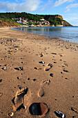 Beach scene, Runswick Bay, Yorkshire, UK, England