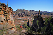 Tourists viewing rock formations, Isalo National Park, Madagascar