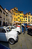 Vintage Vehicle Rally in Piazza Anfiteatro Romano, Lucca, Tuscany, Italy