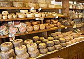 Display of cheeses in shop, General, Food & Drink, Italy