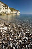 North Landing beach and chalk cliffs, Flamborough Head, Yorkshire, UK, England