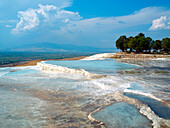 Natural pools of the Travertines, Cotton Castle, Pamukkale, Aegean, Turkey