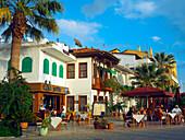 Pavement restaurant on the waterfront, Marmaris, Mediterranean, Turkey