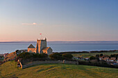 St Nicholas Church at Uphill with sea view, Weston-Super-Mare, near, Somerset, UK, England