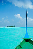 View of desert island from dhoni, General, The Maldives