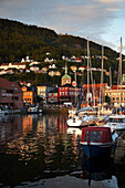 Quayside and harbour at Torget at sunset, Bergen, Hordaland, Norway