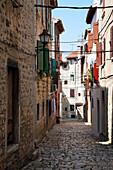 Cobbled street in old town, Rovinj, Istria, Croatia