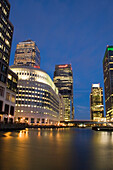 Canary Wharf at night, London, UK, England