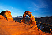 Sunlight on Delicate Arch, Arches National Park, Utah, USA