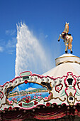 Jet d'Eau fountain and merry-go-round, Geneva, Geneva Canton, Switzerland