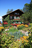 Swiss chalet and garden, Aigle, Vaud Canton, Switzerland