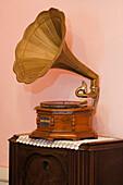 Gramophone at the museum Casa Museo Unamuno, Puerto del Rosario, Fuerteventura, Canary Islands, Spain, Europe