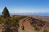 Caldera Pinos de Galdar, volcanic landscape under blue sky, Parque Natural de Cumbres, Paisaje Protejido de Las Cumbres, Gran Canaria, Canary Islands, Spain, Europe