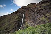 Waterfall Cascada El Palmar in the mountains, Valley of El Risco, Parque Natural de Tamadaba, Gran Canaria, Canary Islands, Spain, Europe