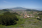 View at mountain village Las Mercedes, La Laguna and Mount Teide in the background, Tenerife, Canary Islands, Spain, Europe