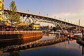 Promande and small Marina at False Creek, Granville Bridge, Vancouver, Canada, North America