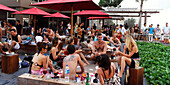 KU DE TA Lounge bar at beachfront in Seminyak, Bali Indonesia