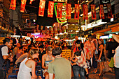 Many people in the evening on Khao San road, Bangkok, Thailand, Asia