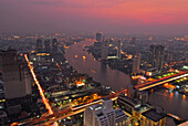 View from Restaurant Sirocco on the top of the State Tower with view over Bangkok and Chao Praya river, Lebua Hotel, Bangkok, Thailand, Asia
