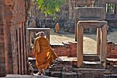 Buddhist monks on pilgrimage in Prasat Hin Muang Tam, Khmer temple in Buriram province, Thailand, Asia