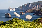 Pan di Zucchero, rocks off shore in the sunlight, Masua, Sardinia, Italy, Europe