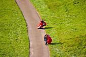 Paragliders at Bernau  on a summer morning, Black Forest, Baden-Württemberg, Germany, Europe