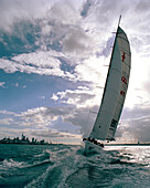 Sailing boat at full speed off Waitemata Harbour under clouded sky, Auckland, North Island, New Zealand