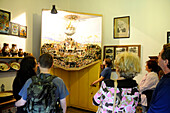 People looking at a picture at the Bohemian mountains museum, Jilemnice, Bohemian mountains, east-bohemian, Czech Republic, Europe