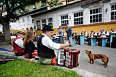 Brass band at the kermis at Spindlermuehle, Bohemian mountains, east-bohemian, Czech Republic, Europe