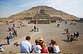 Tourists in front of the sun pyramid of the archeological site of Teotihuacan Mexico City, Mexico D.F. Mexico