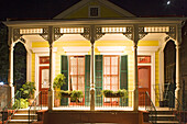 Creole house with a porch in the French Quarter, New Orleans, Louisiana, USA