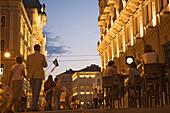 Evening on the Via del Teatro and the Piazza dell'Unita, The bar on the right is called Ex urbanis, Trieste, Friuli-Venezia Giulia, Upper Italy, Italy