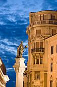 Piazza della Borsa and the statue of Rudolf I v. Habsburg, Trieste, Friuli-Venezia Giulia, Upper Italy, Italy