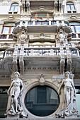Facade of a palace in Borgo Teresiano, Trieste, Friuli-Venezia Giulia, Upper Italy, Italy