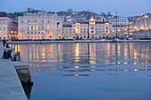 Molo Audace and Piazza dell'Unita d'Italia in the background, Trieste, Friuli-Venezia Giulia, Upper Italy, Italy