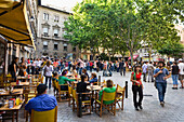 People at street cafes in the old town of Palma, Mallorca, Spain, Europe