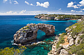 Archway of Es Pontas in the sunlight, Cala Santanyi, Mallorca, Balearic Islands, Spain, Europe